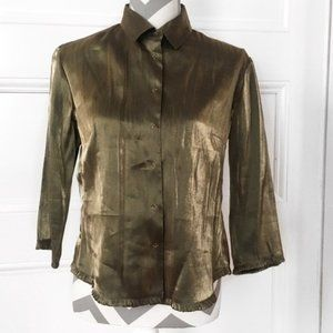 Metallic Bronze 3/4 Sleeve Button Down Blouse